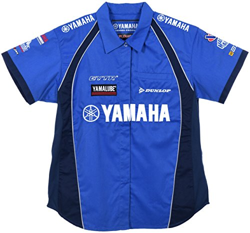 (JH DESIGN GROUP Women's Yamaha Racing Embroidered Crew Shirts in Blue & Red (Medium, Blue))