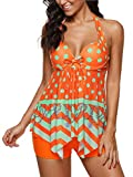 Century Star Sexy Womens Plus Size Two Piece Tankini Padded with Boyshort Slimming Skirt Swimsuits