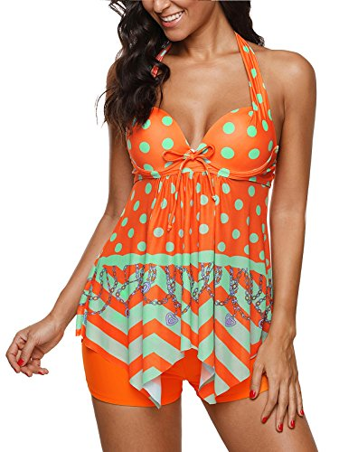 Century Star Sexy Women's Plus Size Two Piece Tankini Padded with Boyshort Slimming Skirt Swimsuits Orange M(US 6-8)