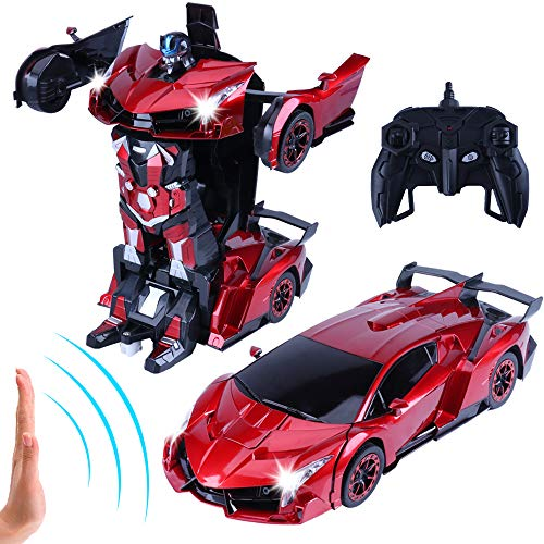 "Transformer RC Car, Remote Control Car, 14"" Electric Radio Controlled Cars Toys for Kids, Hand Control/One Key Transforming Robot, Cool Sound Light,3 4 5 6 7 8 9 10 11 Year Old Boy Kids Toddlers Gifts"