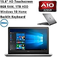 Newest Dell Inspiron Flagship High Performance 15.6 HD Touchscreen Backlit Keyboard Laptop PC| AMD A10-8700P Quad-Core| 1.80 GHz| 8GB RAM| 1TB HDD| DVD+/-RW| Bluetooth| WIFI| Windows 10 Home (Silver)