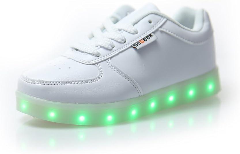DoGeek Zapatos Led Deportivos 7 Color USB Carga LED Luz Glow Luminosos Zappatillas Light Up USB Velcro Flashing Zapatillas
