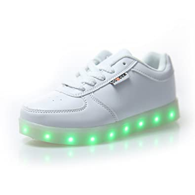 DoGeek Zapatos Led Blanco Negras LED Zapatillas Luces Luminosos Zapatillas 7 Color USB Carga Led Deportivos
