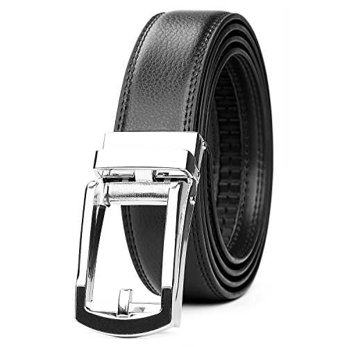 WERFORU Leather Ratchet Dress Belt for Men Perfect Fit Waist Size up to 50 inches with Automatic Buckle,Black,Suit Pant Size 30-44 inches