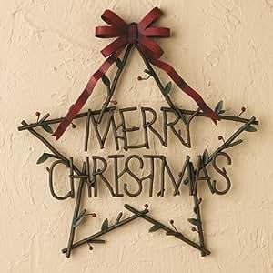 Metal rustic merry christmas star of twigs for Christmas wall art amazon