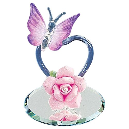 Glass Baron ~ Violet Heart Butterfly Figurine (Crystal Violet Glass)