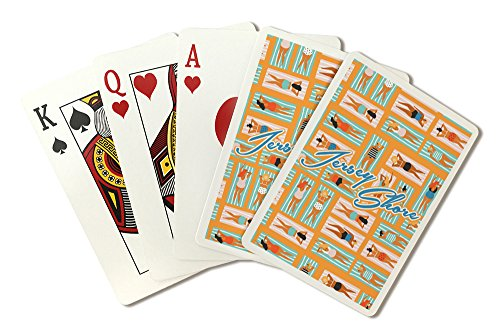 Jersey Shore, New Jersey - Aerial Beach Scene - Ladies on Towels - Orange Background (Playing Card Deck - 52 Card Poker Size with Jokers)