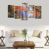 Children's room custom mural made colors stunning falls landscapes canvas print bedroom or living room features oil painting 5 pieces, ready for framing.
