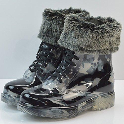 LvRao Mujer Boots Impermeable con Cordones de Zapatos Booties Corto de Lluvia Nieve Botas Casual de Jardín Negro 1 con Pelaje