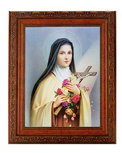 "- Saint Therese Print in a Fine Detailed Ornate Antiqued Mahogany Finished 10.25"" X 12"" Frame"