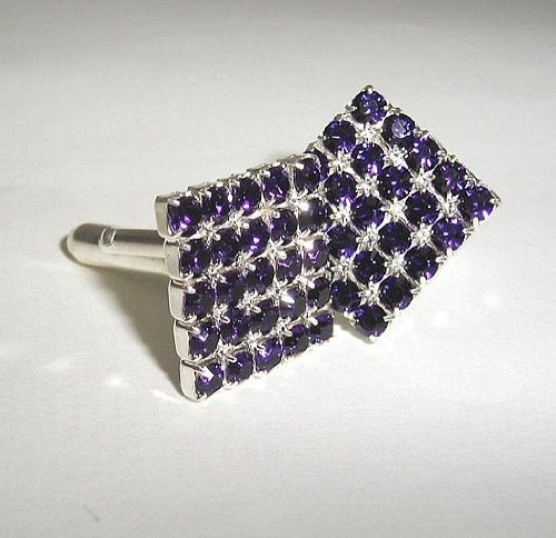 LJ Designs Purple Velvet Square Diamante Cufflinks - Gold Plated - Made With Crystals From Swarovski (Swarovski Crystal Cufflinks Square)