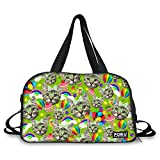 FOR U DESIGNS Funny Kitten Print Travel Sport Yoga Gym Duffel Diaper Bag for Mom Women