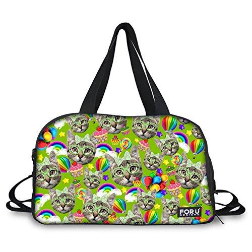 FOR U DESIGNS Funny Kitten Print Travel Sport Yoga Gym Duffel Diaper Bag for Mom Women by FOR U DESIGNS