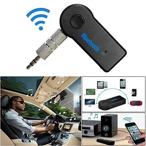 Bluetooth and FM Transmitter, Basde Wireless Bluetooth 3.5mm AUX Audio Stereo Music Home Car Receiver Adapter Mic (1 year warranty) (Black)