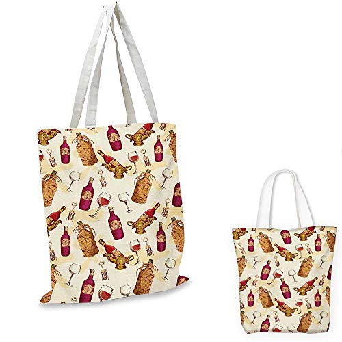 Winery easy shopping bag Vintage Pattern with Glass Bottle Corkscrew Country Restaurant Table emporium shopping bag Fuchsia Ruby Pale Brown. 14