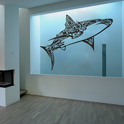 Great White Shark Vinyl Wall Decals Children Bedroom Wall Sticker Awesome Shark Creatures Decor (Large,Black)