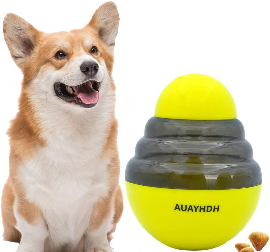 AUAYHDH Dog Food Dispenser Ball Toy, Cats Dog Toy for Pet Increases IQ Interactive,Slow Feeder Treat Ball Toys for Pet Increases IQ,Small to Medium Cats, Dogs, and Pets(Yellow)