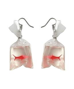 orecchini pendenti da donna con ciondolo a forma di sacchetto d'acqua con pesce rosso, splendida idea regalo (Red)