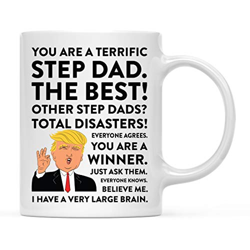 (Andaz Press Funny President Donald Trump 11oz. Coffee Mug Gift, Terrific Step Dad, 1-Pack, Hot Chocolate Christmas Birthday Drinking Cup Republican Political Satire for Family in)