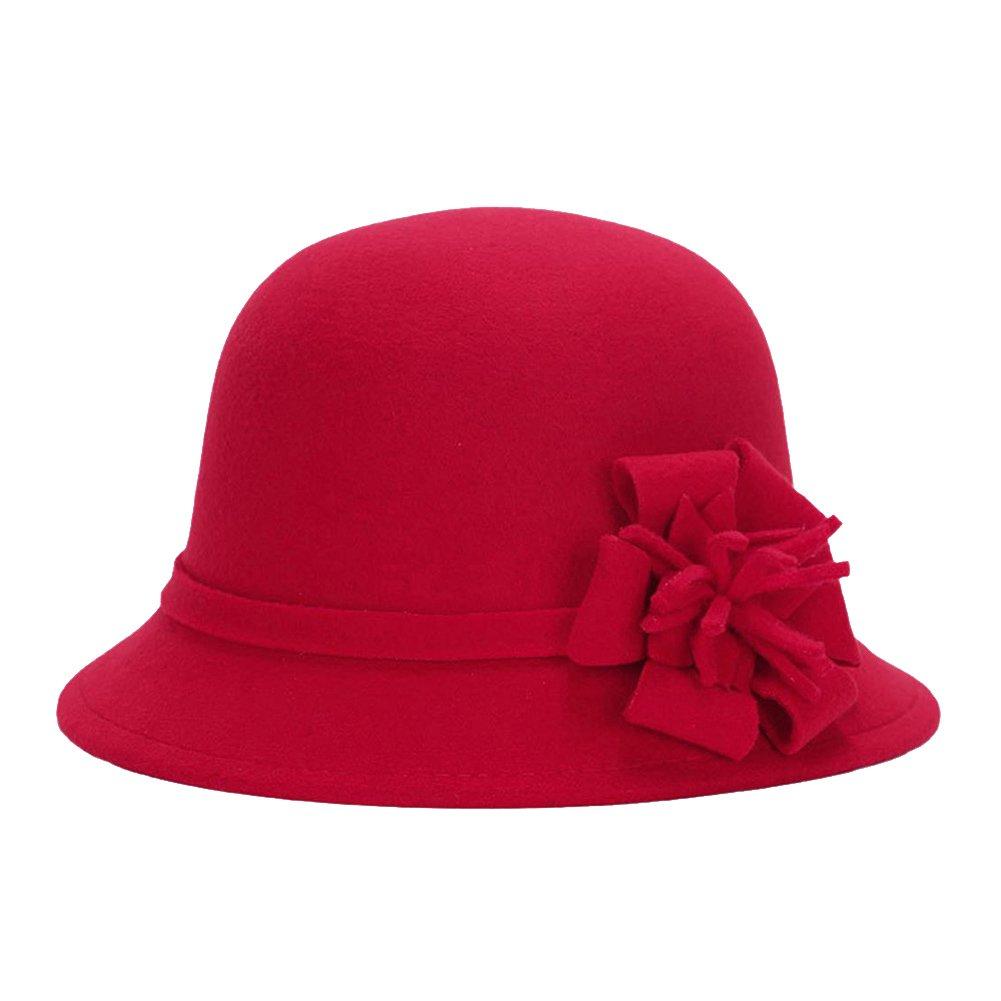 LAMEIDA Ladies Bowler Hats Wool Felt Bucket Cloche Hat Elegant Winter Autumn Fedora Cap with Flower Decoration