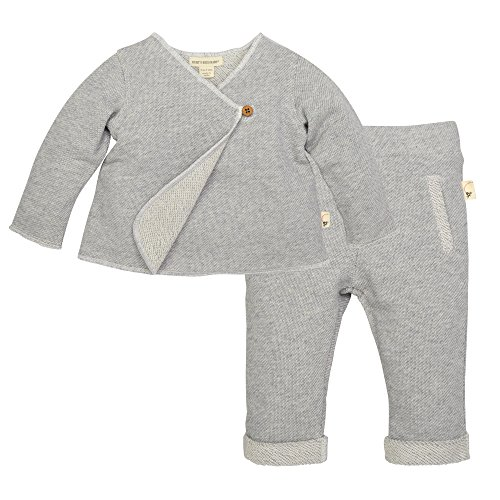 Infant Layette (Burt's Bees Baby Baby Girls' Top and Pant Set, Tunic and Legging Bundle, 100% Organic Cotton, Heather Grey Kimono, 0-3 Months)