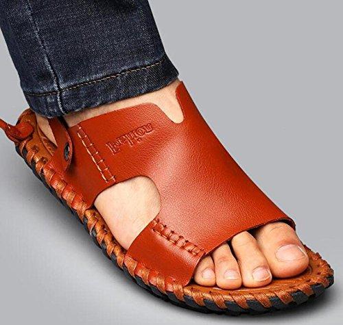 Beauqueen Playa de doble uso Hombre Verano suaves suelos al aire libre Zapatillas Sandalias abierto dedo del pie informal antideslizante Deportes Zapatos ocasionales UE tamaño 38-44 Brown