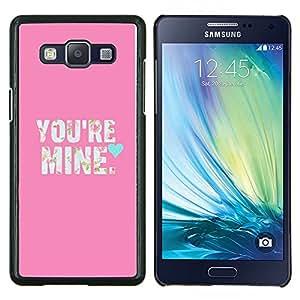 Eason Shop / Premium SLIM PC / Aliminium Casa Carcasa Funda Case Bandera Cover - Valentines texto Mina Pink Teal - For Samsung Galaxy A5 ( A5000 ) 2014 Version