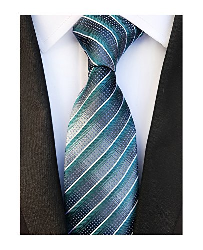 Necktie Dad (Men Stripe Peacock Green Grey Tie Woven Necktie Creative Design Gift for Dad Son)