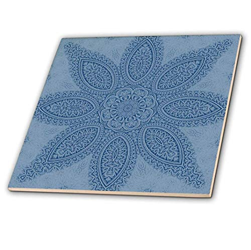 3dRose 3D Rose Blue Big Elegant Fractal Flower Mandala - Ceramic Tile, 12-inch (ct_42003_4),