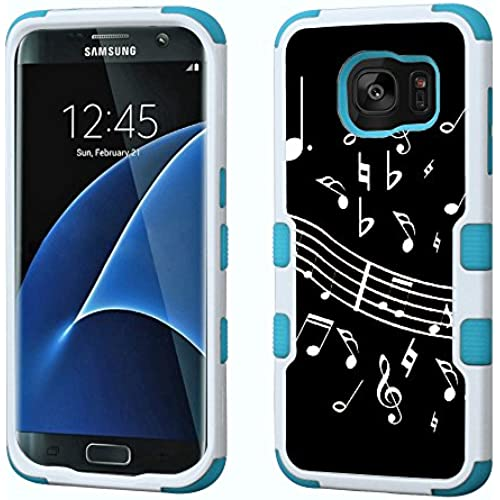 Fit Galaxy S7 EDGE, One Tough Shield  3-Layer Hybrid phone Case (White/Teal) for Samsung Galaxy S7 EDGE - (Music Notes / Black) Sales