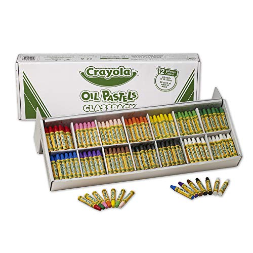 12 Piece Pastel - Crayola Oil Pastels Classpack, 12 Brilliant Opaque Colors (336Count) Large Hexagonal Shape Pastels, Ideal for Kids 3 & Up, Non-Toxic, Blendable, Strong, Long Lasting Sticks, Bulk Value Classroom Pack