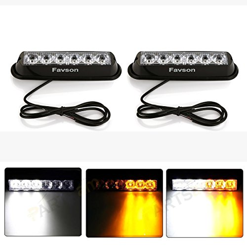 Favson 6 LED Strobe Lights for Trucks Cars Van with Super Bright White&Yellow Emergency Flasher(2 pcs)