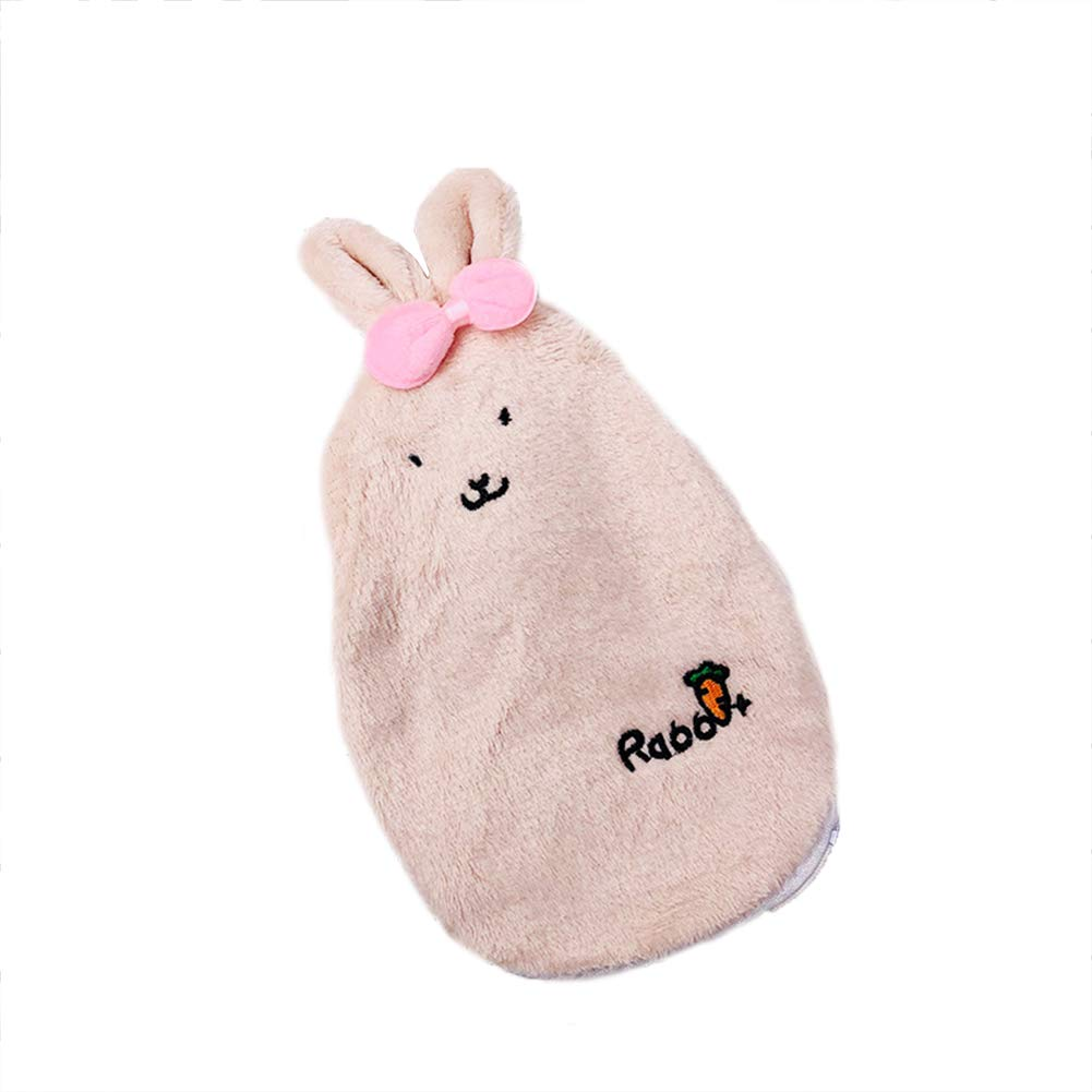 Topdo Hot Water Bottle Hot Water Bag Explosion-Proof Irrigation Water Warm Bag Warm Palace Cute Cartoon Plush Bunny Removable Cloth Set Hand Warmers Size 2415cm (Khaki)