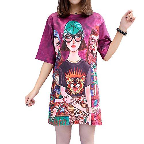 Good-memories dress M-XXL Big Size Women Mini Dress Bohemia Girls Print Short Sleeve Casual T Shirt Dresses,AS Show,XL ()