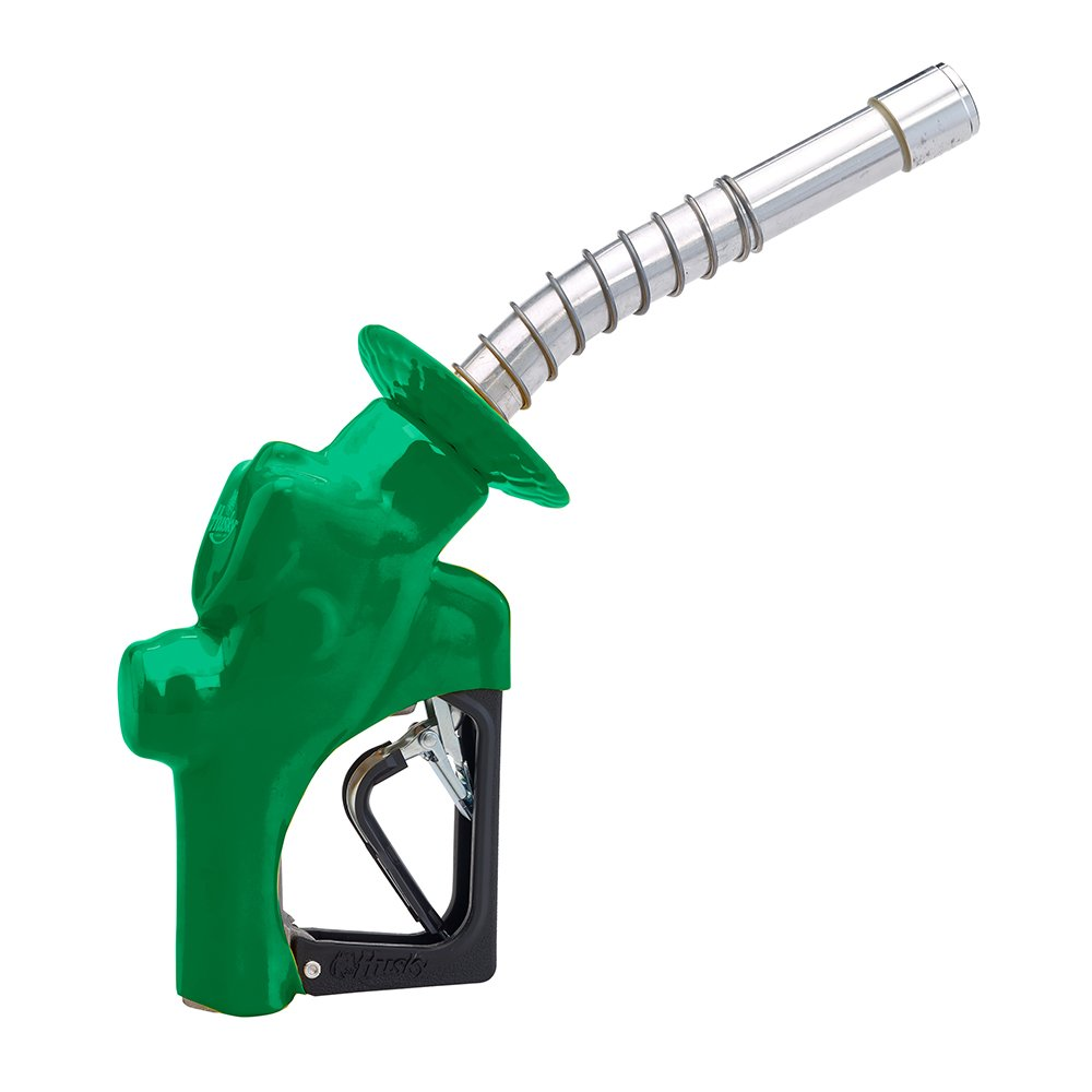 Husky 17761001-03 VIIIS Heavy Duty Pressure Activated Diesel Nozzle with 3-Notch Hold Open Clip, Full Grip Guard and Green Hand Guard