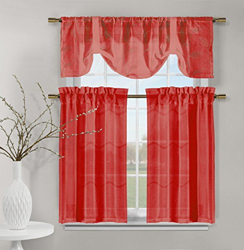 Videira Gold Leaf Embroidery Kitchen Curtain Set Valance Tiers (Red)