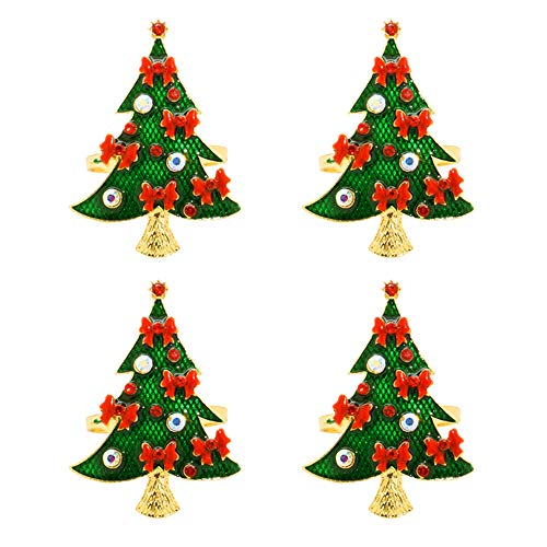 (C&L Accessories Napkin Rings Set of 6, Christmas Tree Napkin Holders for Wedding Banquet Party Dinner Christmas Hotel Kitchen Table Decoration)