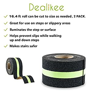 "DEALIKEE Anti Slip Traction Tape, None Skid Glow In The Dark Walk Strip Safety Tape with 3M Best Grip Abrasive Adhesive For Stairs, Tread Step, Gaffers.(2 Pack, 2"" Wide 16.4' Long Roll/1pc)"