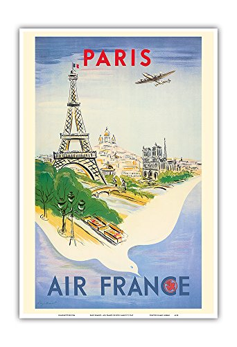 Paris France - Eiffel Tower - Air France - Vintage Airline Travel Poster by Régis Manset c.1947 - Master Art Print - 13in x 19in