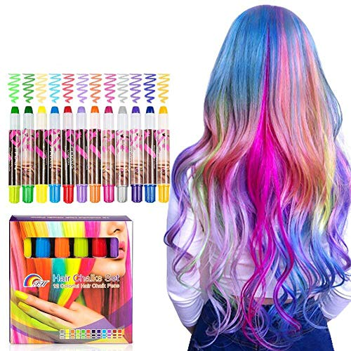 BATTOP Bright Hair Chalk Set-Metallic Glitter Hair chalk comb for Kids and Party (24 Pcs) (12 Pcs-Pen) by BATTOP