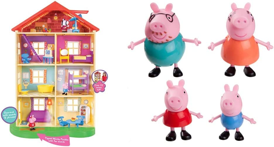 Peppa Pig's Lights & Sounds Family Home Feature Playset & Pig Family 4-Figure Pack