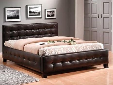 Cama doble dormitorio matrimonio cama 160 x 200 Cama Barcelona piel sintética color blanco/marrón: Amazon.es: Hogar