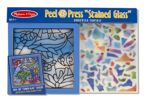Melissa & Doug Stained Glass Made Easy Activity Kit, Ocean (Arts and Crafts, Develops Problem Solving Skills, 100+ Stickers) -