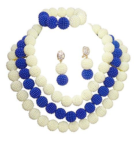 Bleu royal avec boule Doré pour mariage fête africain Perles Ensemble de bijoux