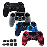PS4 Controller Cover Protector Case Grip STUDDED Anti-slip Silicone Skin for PS4/SLIM/PRO Controller(Skin x 4 + FPS PRO Thumb Grips x 8)(Black,White,CamouflageRed,CamouflageBlue)