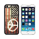 MSD Premium Apple iPhone 6 iPhone 6S Aluminum Backplate Bumper Snap Case iPhone6 IMAGE ID: 13243736 USA Flag with the Peace Sign Sprayed on it Cool Dirty Design