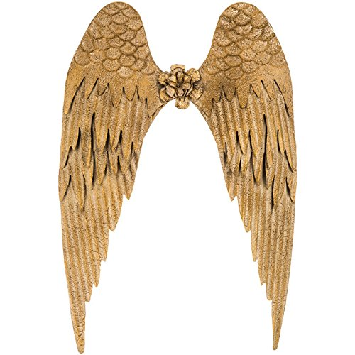 """Large Beautiful Distressed Style Metal Gold Angel Wings Home Wall Decor ~ 26"""" x 18"""" ~ Shabby Chic"""