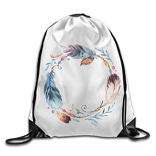 Jingclor Unisex Drawstring Backpack Beautiful Feather Funny Logo Portable Shoe Bags Travel Sport Gym Bag Yoga Runner Daypack ()