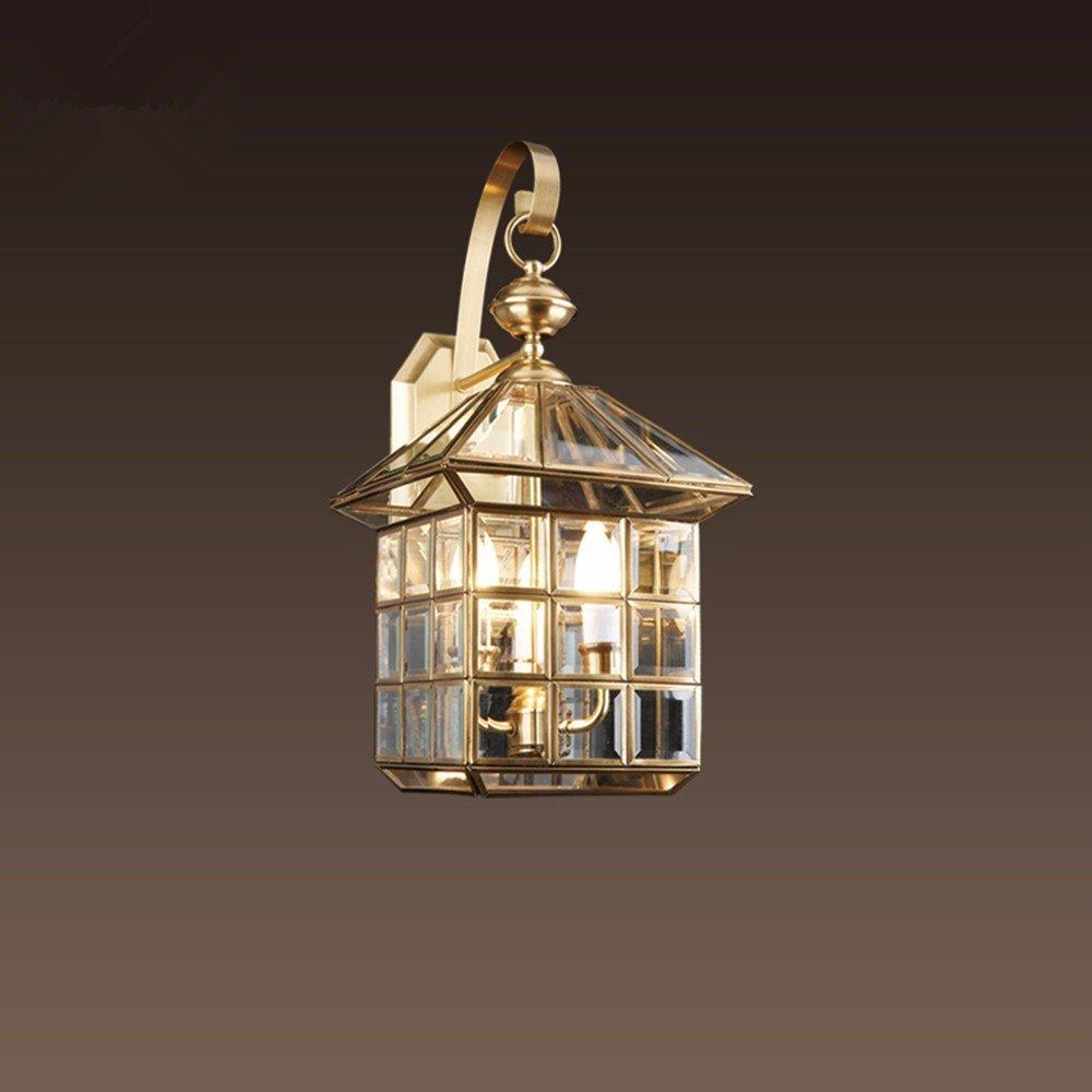 Wandleuchte Kupfer Wandleuchten outdoor Wandleuchte einzel Lampe Licht Leuchte wasserdicht Balkon,W22*H36cm