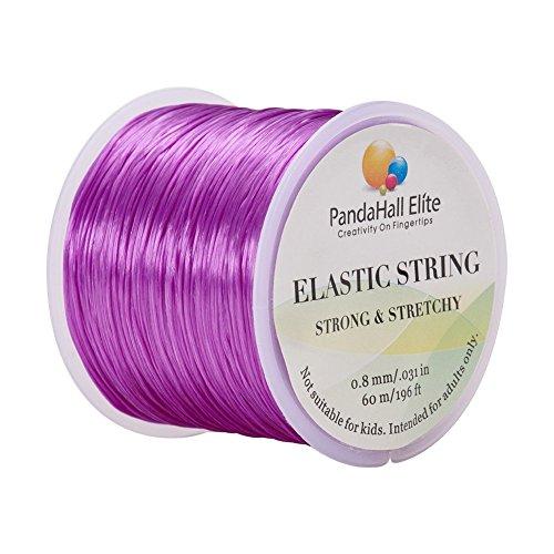 PandaHall Elite 1 Roll 0.8mm Elastic Stretch Polyester Threads Jewelry Bracelet Beading String Cords 60m per Roll Purple